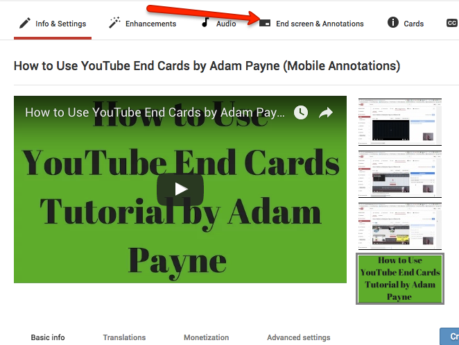 how to create youtube end card
